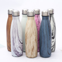 17oz Wood Design Vacuum Insulated Stainless Steel Water Bottle Perfect for Outdoor Sports Camping Hiking Cycling Picnic