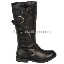 Wholesale lady fashion buckle black round toe western cowboy boots