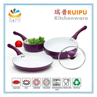 aluminum white ceramic coating purple color cooking sets induction kadai stamped aluminum cookware