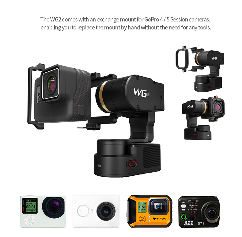 2017 FeiyuTech WG2 Wearable Gimbal with Water-Proof, Dshot Neck, 3 Axis, Compatible with GoPr o 5/4/3 ect