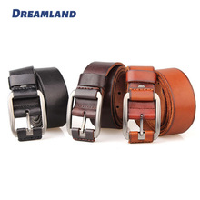 Leather Covered Buckle Cowhide Leather Belts with Rub Off Edges