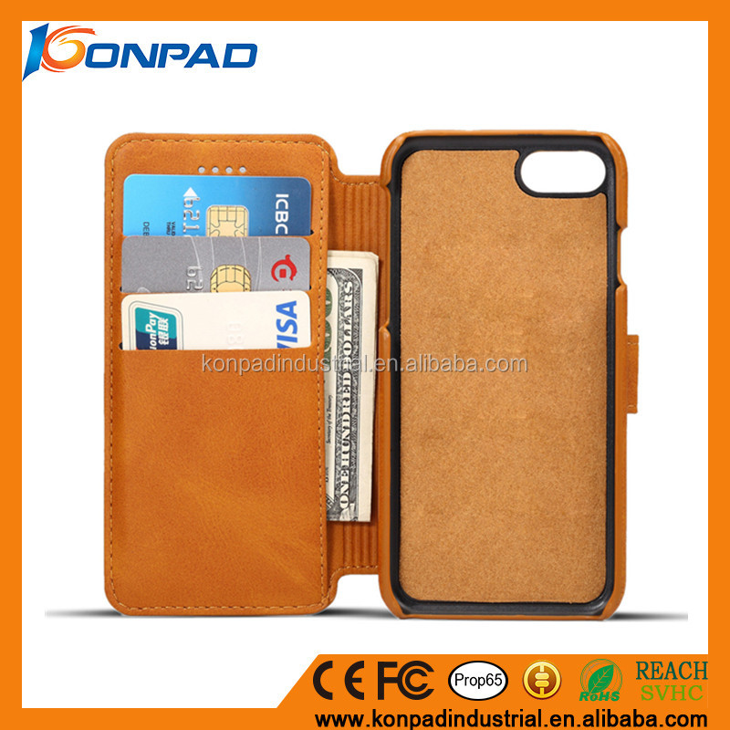 Leather wallet book cover, genuine leather flip cover case with kickstand function for iphone 7