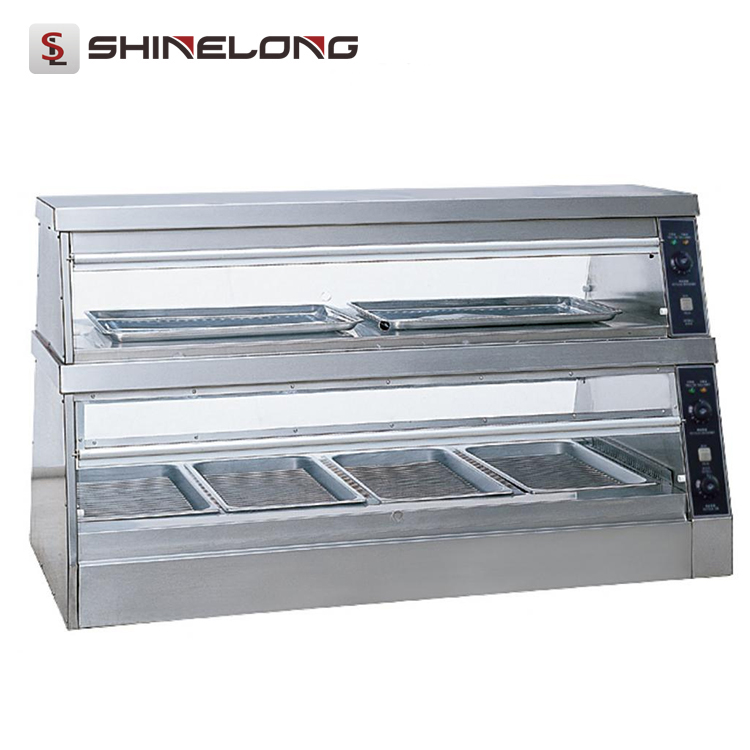 Professional Fast Food Industrial Glass Table Food Warmer Display Showcase