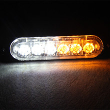 Amber White dual color grille flashing strobe warning lights 6leds led mining light bar