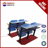 High Quality study table and chair set College lecture hall bend table chair in discount