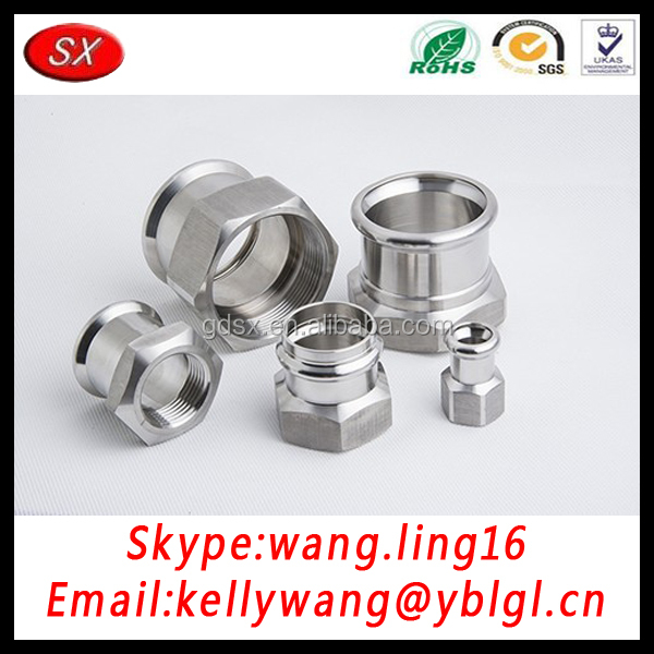 Shuangxin Factory CNC lLathe Machining Non Standard Press Fitting Pipe Joints With Nut