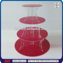 TSD-A248 China factory custom store 4 tier acrylic cupcake stand/perspex cake stands/acrylic wedding cake stands