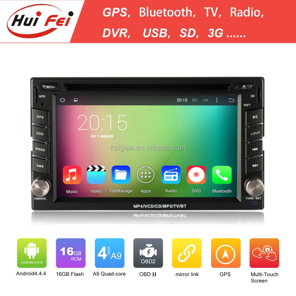 "6.2"" 2 din touch screen car audio with GPS 4 core A9 16GB android 4.4.4 HD car dvd player for all cars"