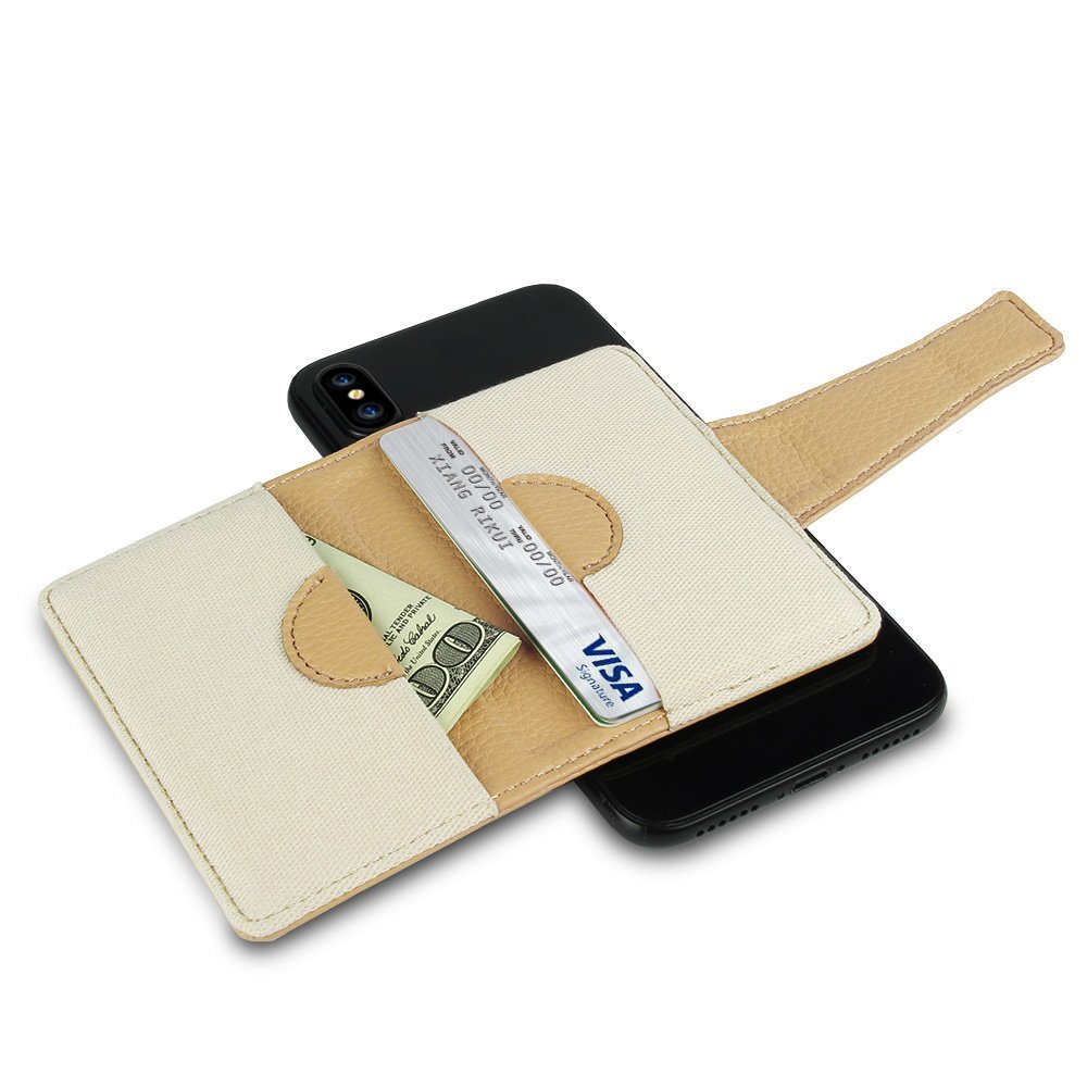 2018 New Design Leather Credit Card Holder Wallet Stick on for iPhone