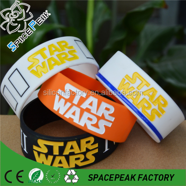"100% custom Stars Wars Rebel Alliance 1"" Wide Ink-filled Colour Silicone Wristband Bracelet,"