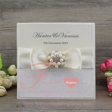 Customized Pearl Buckle Beige Ribbon Bow Glitter Wedding Invitations