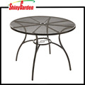 Garden Yard Round Mesh Dining Table, Metal Top, Steel Frame