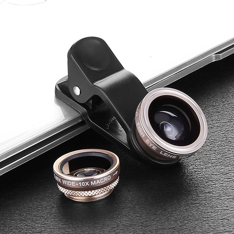 Guangzhou factory price universal 3 in 1 0.65x wide angle macro lens fisheye camera lens for phone