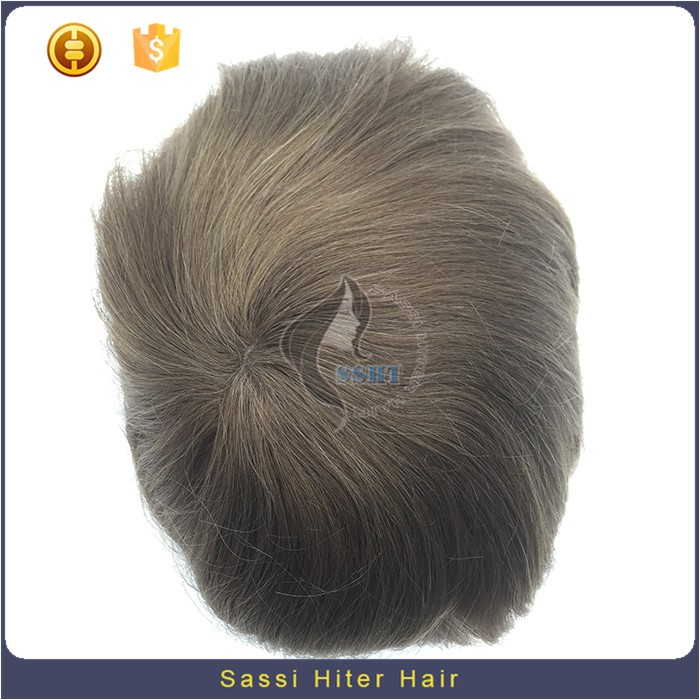 Silver Remy Hair 100% Unprocessed Men Hair Toupee