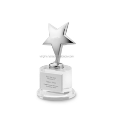 Best sale silver metal star with clear crystal base for crystal VIP trophy awards