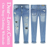 Sexy Girls Blue Street Fashion Bleached Ripped women skinny Jeans