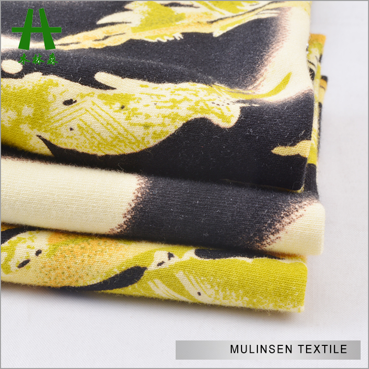 Mulinsen Textile Single Jersey Printed MVS Murata Vortex Spinning 100% Rayon Knit Fabric for Garment