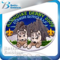 Embroidery Oblong Shape Picture Wolf Patches