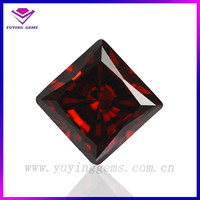High quality square machine cut 8*8mm garnet cz gemstone indonesia