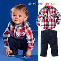 New Designs Baby Boy Clothing Sets Kids 2 Pieces Suits Grid Shirt and Black Pants Child Clothes Wear For Chirstmas CS40813-5