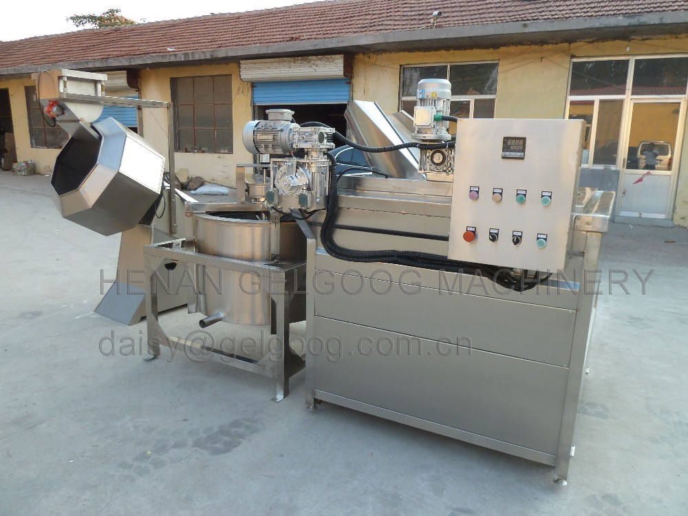 Continuous Gas Fryer Banana Chips Chin Chin Groundnut Potato Chips Frying Machine