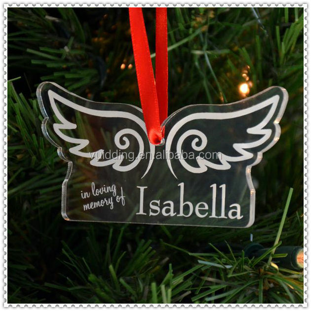 Angel Wings Clear Acrylic Ornament For Christmas Decoration