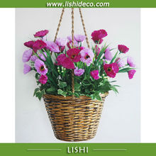 Artificial Poppy Hanging Flower Basket