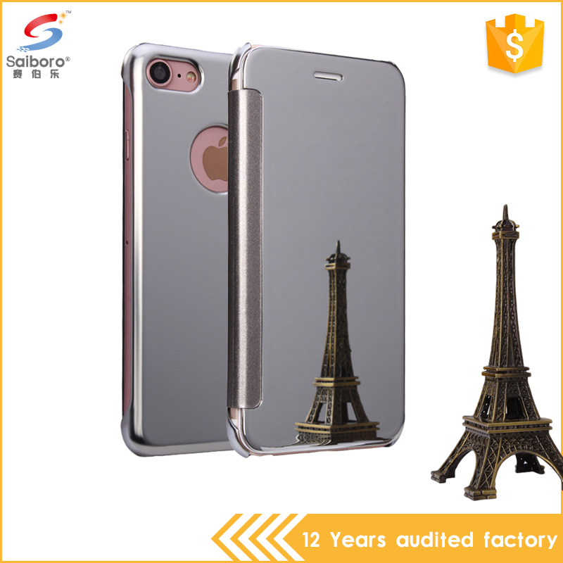 Guangzhou wholesale chrome flip mirror cover case for Samsung Galaxy S7