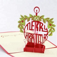 Merry christmas hanging ring 3d pop up cards wholesale