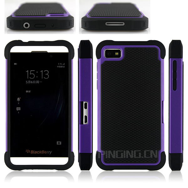 Hot sale football textured bumper cover for blackberry z10 , pc + tpu hard case for blackberry z10