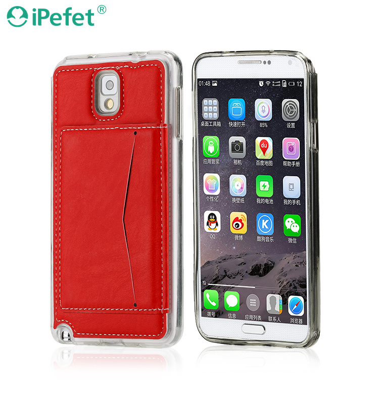 Stylish leather case with card slot and stand holder function for Note 3 Phone Cases