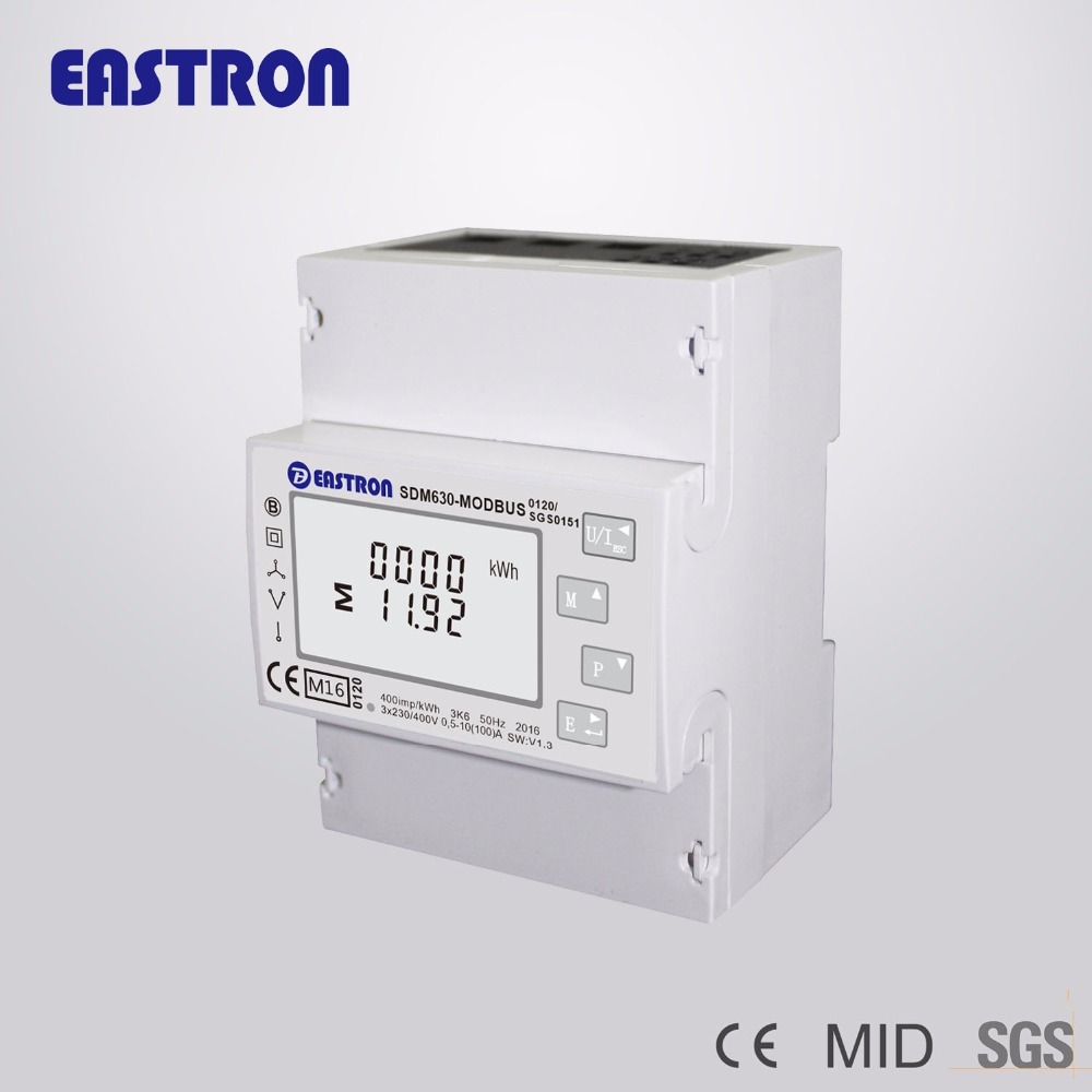 SDM630Modbus Three Phase Bi-directional Multifunction electric Energy Meter, Power Monitor,10(100)A DC Connection
