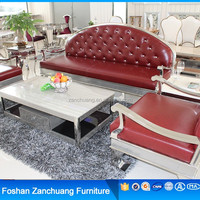 Sofa furnituree stainless steel legs Red modern leather couch for living room