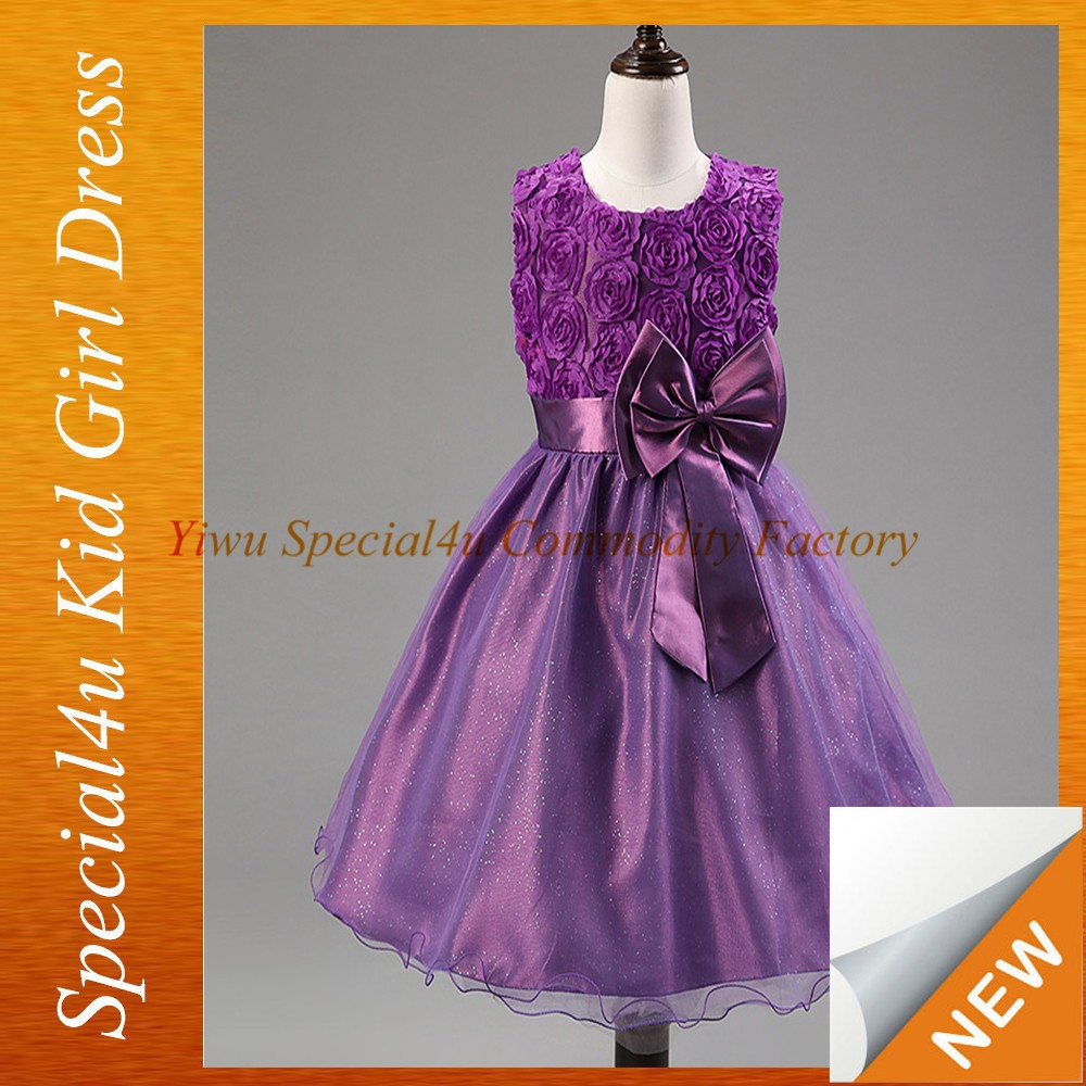 Flower girl dress pattern fashion baby purple party dress for children girls wedding clothes kids SPSY-335
