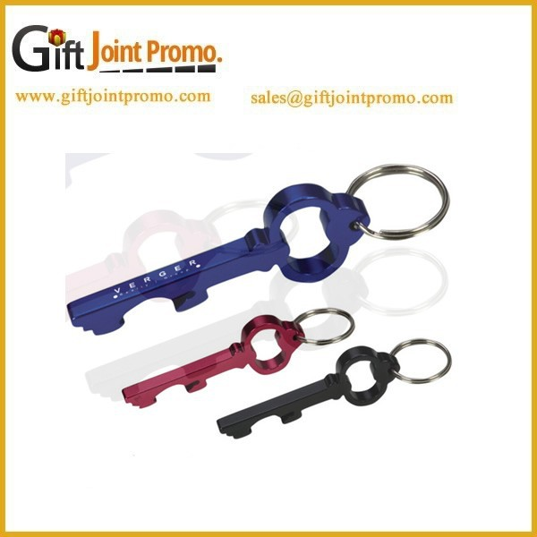 Promotional Customized Aluminum Alloy Key Shaped Bottle Opener with Keychain