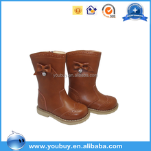 Wholesale brown lace desig leather girl kids long boots