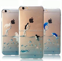 Colorful 3D Popular Marine Animals Transparent Blue Dolphins Penguins Polar Bears Sink Case Cover for iphone 6 6s 4.7""