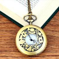 Alice in Wonderland The Write Rabbit and Key Roman Numerals and Poker Dial Quartz Pocket Watch Analog Pendant Necklace Men Women