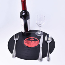 Low MOQ Wholesale High Quality Classic Retro Vinyl CD Record Silicon Decorative Dinning Table mat