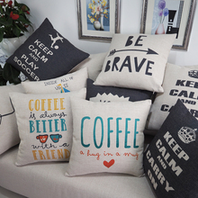 Wholesale linen/cotton fabric plain style english words alphabet digital printed cushion cover
