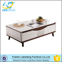 2016 Aian hot sale rectangle high gloss living room low height coffee table with tempered glass top and drawers