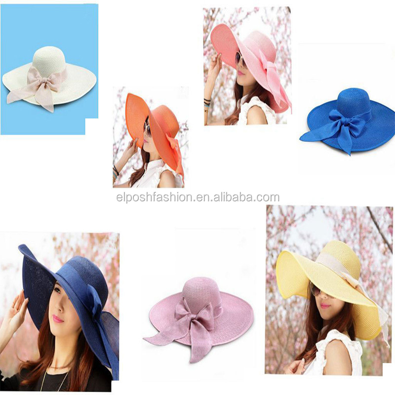 Wholesale Summer Wide Brim Sun Hat For Women UV Bow Straw Beach Hat