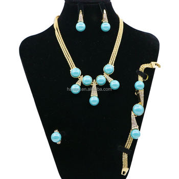2018 Handmade african beads pearls jewelry set african jewelry necklace and earring set