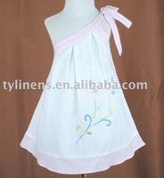 Embroidery Pink & white cotton girl's dress