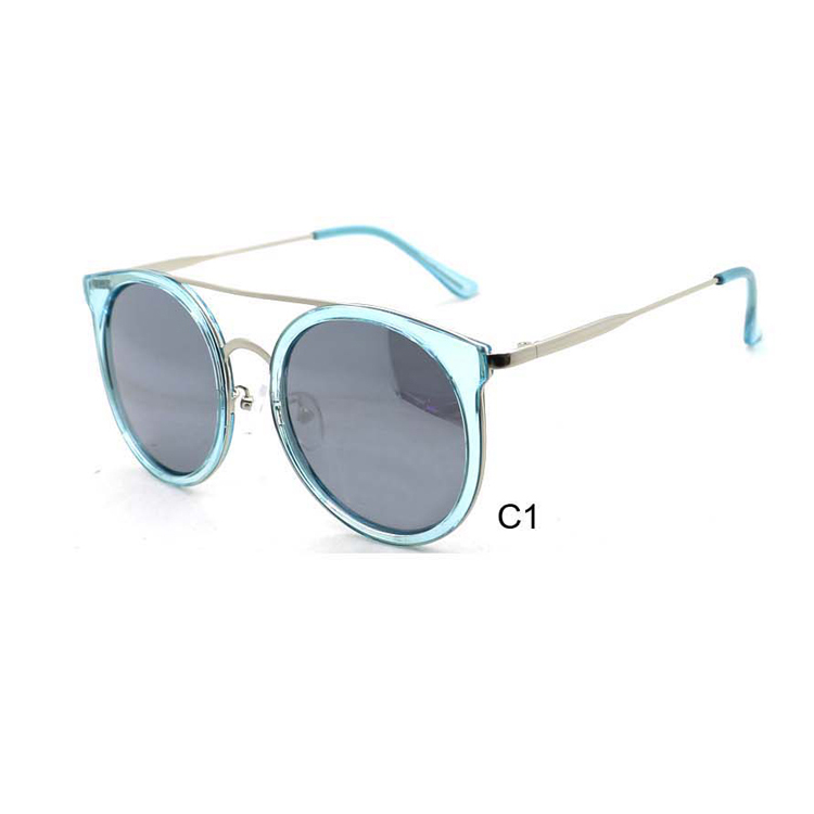 2017 fashion cool round frame metal temple uv400 sunglasses