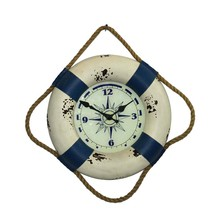 Nacy style home decoration with rope antique MDF wooden wall clock