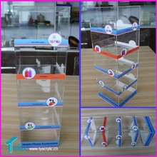 5-tier Cellphone Accessory Cabinet Showcase Mobile Charger Retail Store Stand Acrylic Cellular Phone Accessories Display Stand
