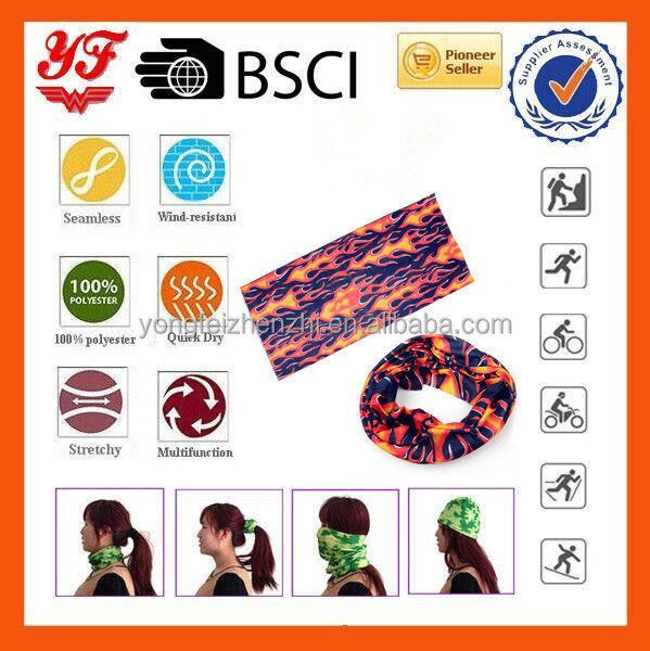 Burning Eternal Flame Printed Multifunctional Seamless Tube Bandana, Polyester Microfiber Material ,Unisex Outdoor Bandana