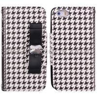 Plaid Checkers Bowknot Wallet Leather Cover Case for iPhone 5S/5