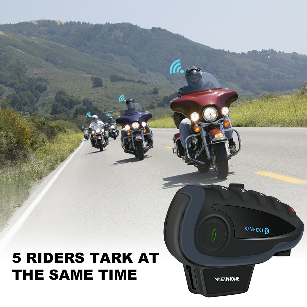 New arrival promotion original 5 way audio interphone headset with FM radio BT motorcycle intercom